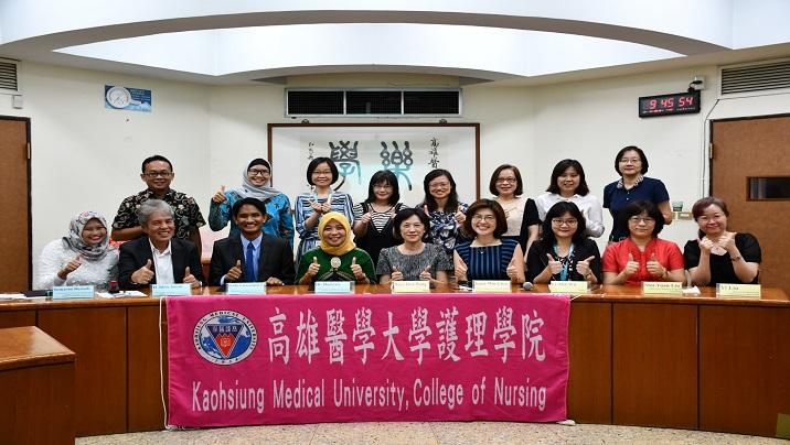2019/04/09 高雄醫學大學護理學院與印尼三所大學Panrita Husada Bulukumba, Husada Mandiri Poso以及Tanawali Persada Takalar的健康科學院簽訂合作備忘錄。